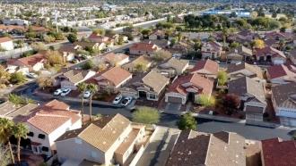 An aerial view of a neighborhood.