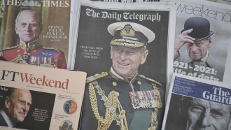 A display of newspaper front pages following the announcement of the death of the Duke of Edinburgh on Friday April 9