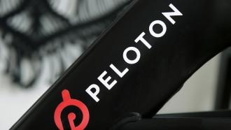 Peloton logo on the company's stationary bicycle
