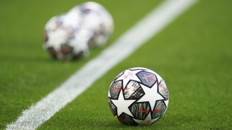 The Official UEFA Champions League match balls are on display ahead of the Champions League quarter final second leg