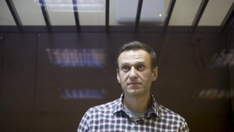 Russian opposition leader Alexei Navalny stands in the Babuskinsky District Court in Moscow, Russia