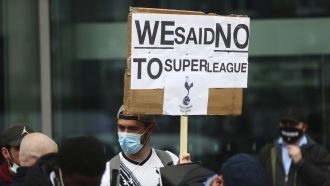 Tottenham fans stage a protest against the Board over the planned creation of a European Super League.