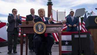 President Trump signing a memorandum to protect Florida coastline from offshore drilling