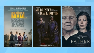 "Movie posters for ""One Night In Miami,"" ""Ma Rainey's Black Bottom"" and ""The Father"""