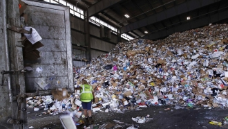 Materials in recycling facility