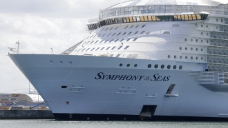 The Symphony of the Seas cruise ship is shown docked at PortMiami, in Miami.
