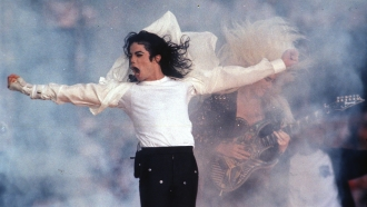 Michael Jackson performs during the halftime show at the Super Bowl.