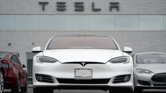 Vehicles at a Tesla location