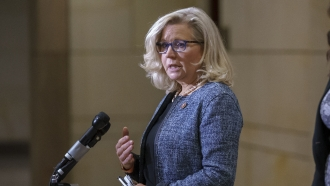 House Republican Conference Chair Rep. Liz Cheney, R-Wyo., speaks to reporters.