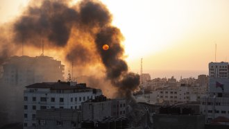 Wreckage following airstrike in Gaza City