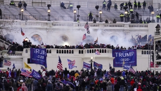 Rioters storming the U.S. Capitol in Washington, D.C.