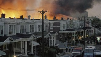 Scores of row houses burn in the west Philadelphia neighborhood fire that came from the MOVE bombing.