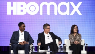 Michael Quigley, from left, Kevin Reilly and Sarah Aubrey appear at the HBO Max Executive Sessions panel.
