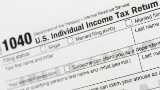 A portion of the 1040 U.S. Individual Income Tax Return form