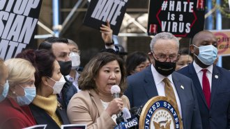 U.S. Rep. Grace Meng, D-N.Y. is joined by Senate Majority Leader Chuck Schumer D-N.Y. at a news conference to discuss a bill