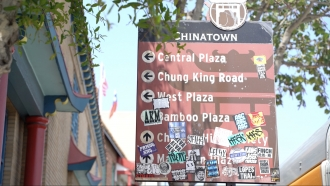 A sign in Los Angeles' Chinatown neighborhood