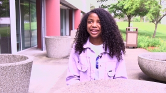 Scripps National Spelling Bee finalist Destiny Johnson sits down for interview.