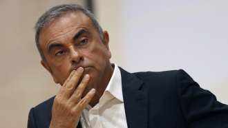 former Nissan Motor Co. Chairman Carlos Ghosn holds a press conference as he launches an initiative to help Lebanon.