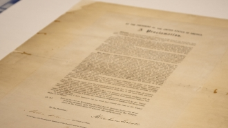 A signed copy of Emancipation Proclamation.