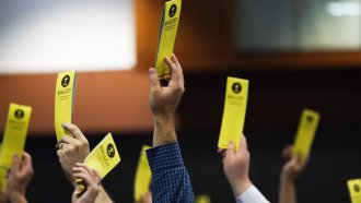 People signify their vote on a motion during the annual Southern Baptist Convention