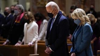 Then President-Elect Biden and his wife, Jill Biden, attend mass