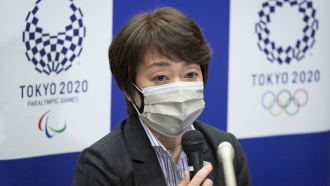 Tokyo 2020 Organizing Committee President Seiko Hashimoto speaks during a press conference.
