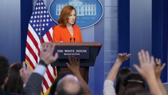 White House press secretary Jen Psaki speaks during the daily briefing at the White House in Washington