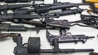Weapons that include handguns, rifles, shotguns and assault weapons, collected in a Los Angeles Gun Buyback event.