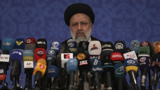 Iran's new President-elect Ebrahim Raisi during a news conference