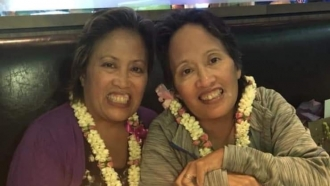 Rosary Castro-Olega (left) passed away from COVID  March 2020. She celebrates her birthday with her twin sister Rosalie.