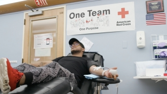 Man gives blood