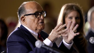 Rudy Giuliani speaks at a hearing of the Pennsylvania State Senate Majority Policy Committee in Gettysburg, PA in Nov. 2020.