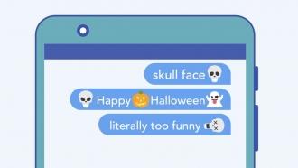 """Illustration of """"skull"""" emoji in messaging platform."""