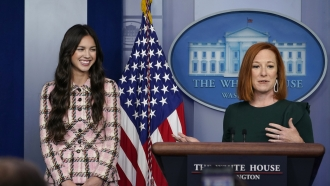 Singer Olivia Rodrigo with White House Press Secretary Jen Psaki.