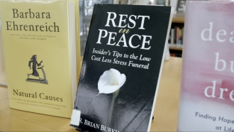 Books about death displayed at Alexandria Central Library