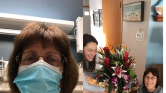 Kim Thacker the morning of her lung tumor surgery at the hospital and recovering at home the same day.