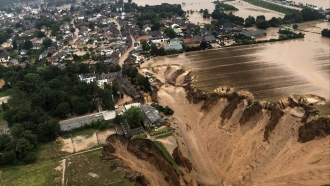 aerial pictures showed what appeared to be a massive sinkhole