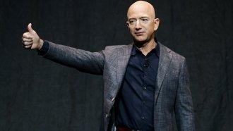 Jeff Bezos speaks at an event before unveiling Blue Origin's Blue Moon lunar lander.