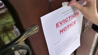 Eviction sign posted on a door