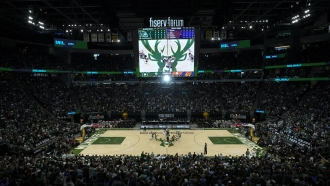 The Milwaukee Bucks and the Phoenix Suns tip off for the start of an NBA Finals game.