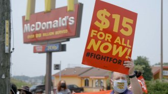 Protesters call for a raise in the federal minimum wage