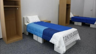Cardboard beds set up for athletes at the Tokyo Olympics