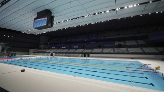 Olympic swimming pool at the Tokyo Aquatics Center.
