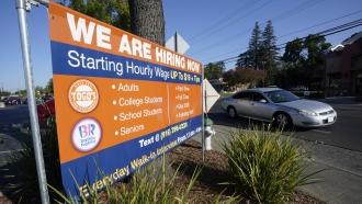 Hiring banner in Sacramento, California.
