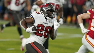 Tampa Bay Buccaneers running back Leonard Fournette sprints to the end zone