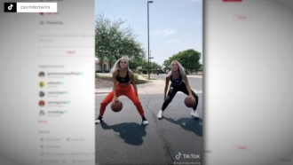 Basketball players in a TikTok video