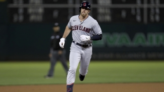Cleveland Indians' Bradley Zimmer runs the bases after hitting a home run.