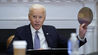 President Joe Biden participates in a summit on semiconductor and supply chain resilience