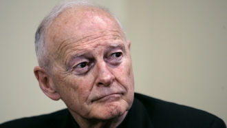 In this May 16, 2006 file photo former Washington Archbishop, Cardinal Theodore McCarrick pauses during a press conference