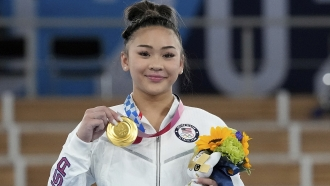 Gold-medalist Sunisa Lee after she won first place in the women's all-around at the 2020 Summer Olympics